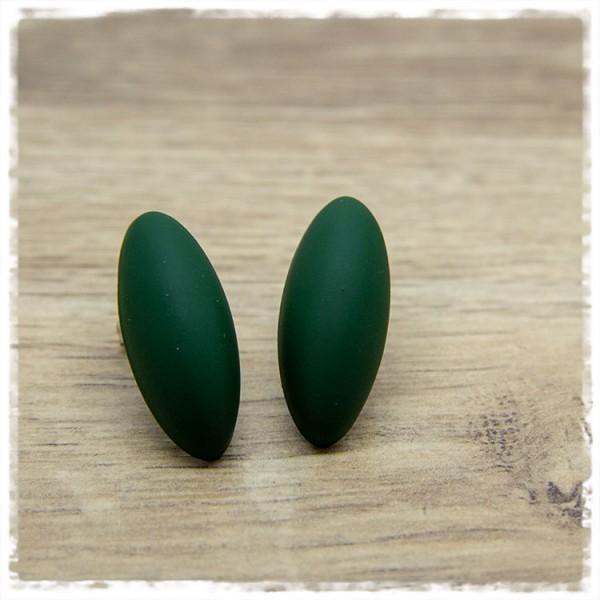 1 Paar große Ohrstecker in Tropfenform matt grün