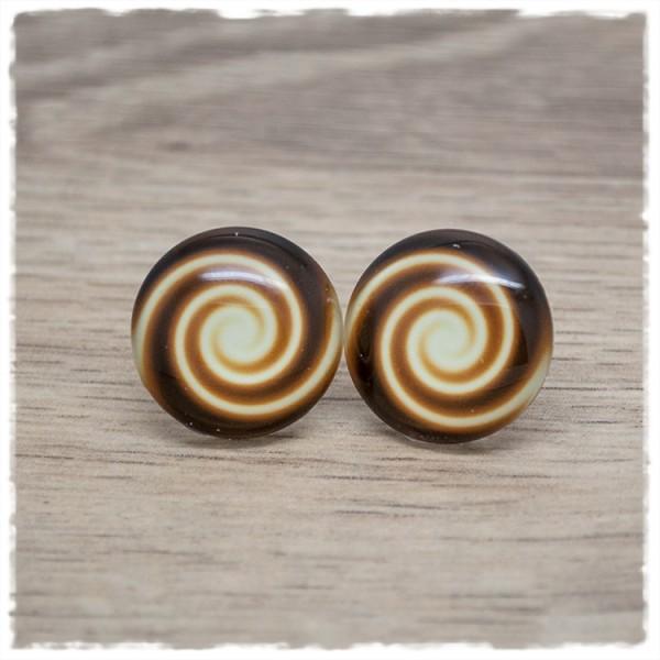 1 Paar Ohrstecker Swirl gold schwarz
