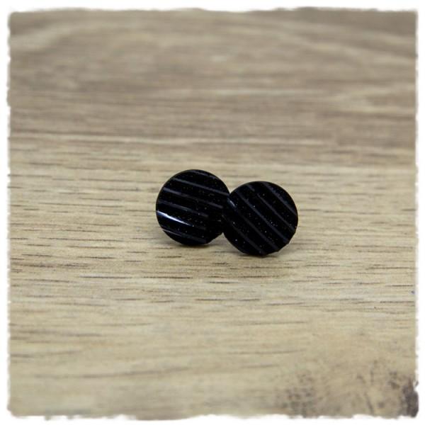 1 Paar Glitzerohrstecker in 12 mm schwarz gestreift