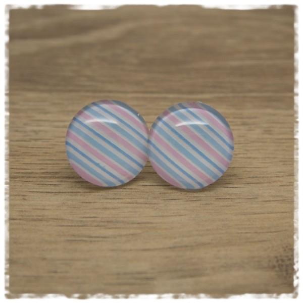 1 Paar Ohrstecker weiß mit rosa und hellblauen Streifen