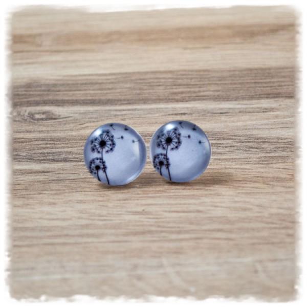 1 Paar Ohrstecker in 16 mm schwarze Pusteblumen auf weißem Hintergrund (wahlweise als Ohrclips)