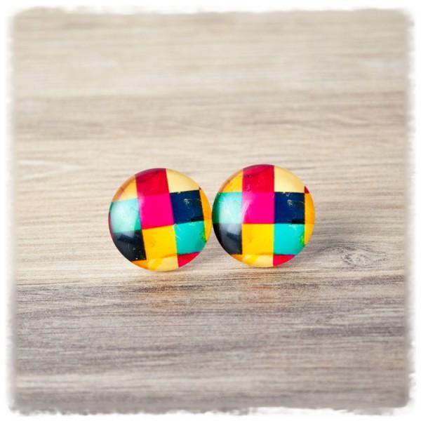 1 Paar Ohrstecker in 20 mm mit bunten Quadraten (wahlweise als Ohrclips)
