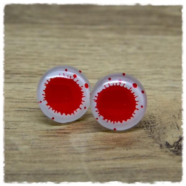 1 Paar Ohrstecker in 20 mm weiß mit rotem Klecks