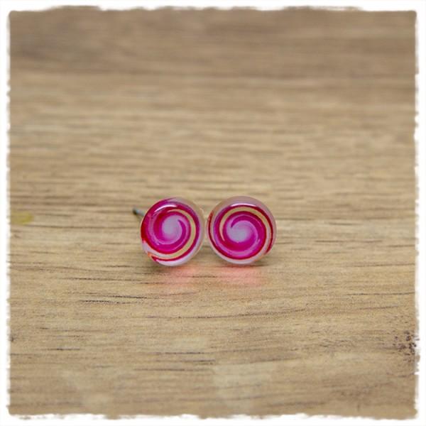 1 Paar Ohrstecker in 10 mm mit pinkem Wirbel