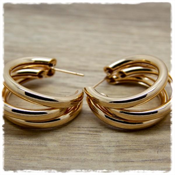 1 Paar Ohrringe in 30 mm rund golden