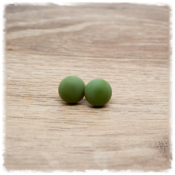 1 Paar Ohrstecker in 12 mm matt olivgrün