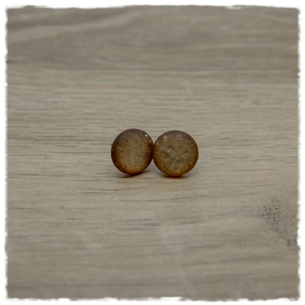 1 Paar Ohrstecker in 12 mm frosty hellbraun Glitter