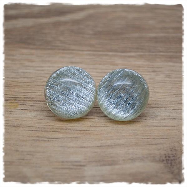 1 Paar Ohrstecker in 18 mm grau gebürstet