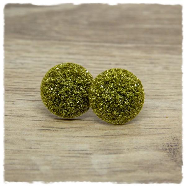 1 Paar Glitzerohrstecker in 20 mm gold