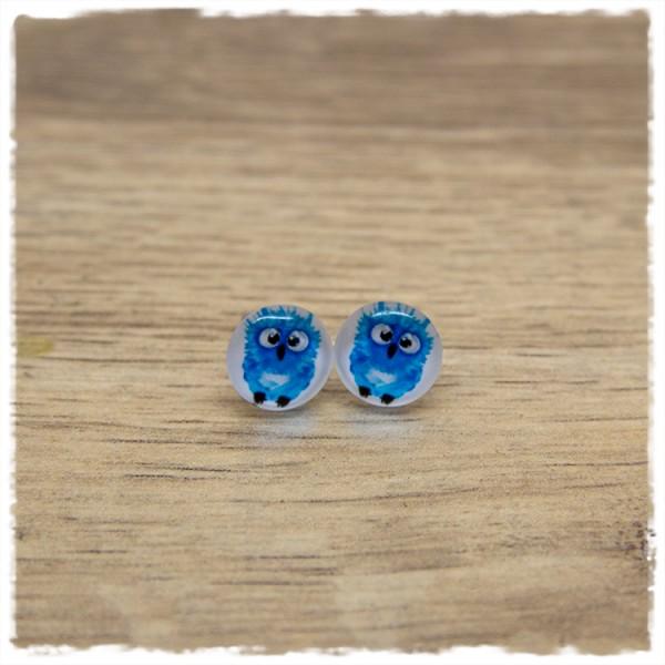 1 Paar Ohrstecker in 10 mm mit blauem Vogel