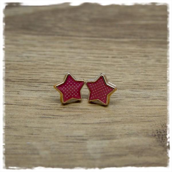 1 Paar Ohrstecker in 12 mm sternförmig altrosa mit Rand in rosegold