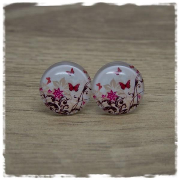 1 Paar Ohrstecker mit pinken Schmetterlingen