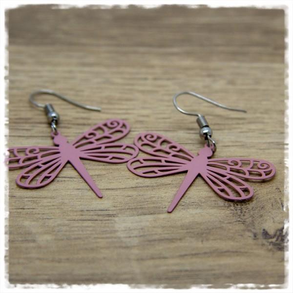 1 Paar Ohrhänger in 35 mm rosa Libelle