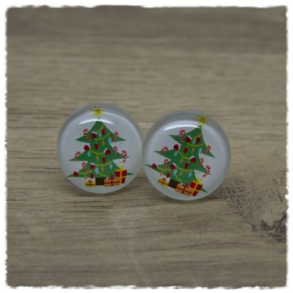 1 Paar Ohrstecker in 20 mm Weihnachtsbaum mit Lichterkette