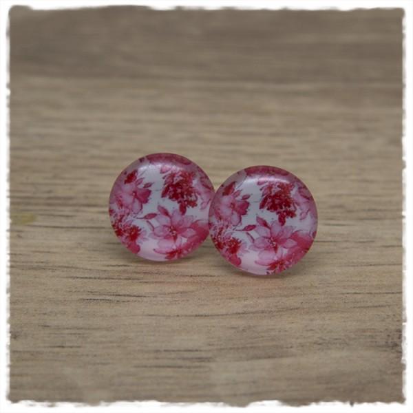 1 Paar Ohrstecker in 16 mm mit rosa Blüten auf weißem Hintergrund