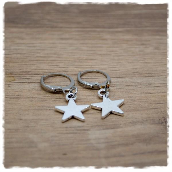 1 Paar Ohrhänger in 12mm mit silbernem Stern