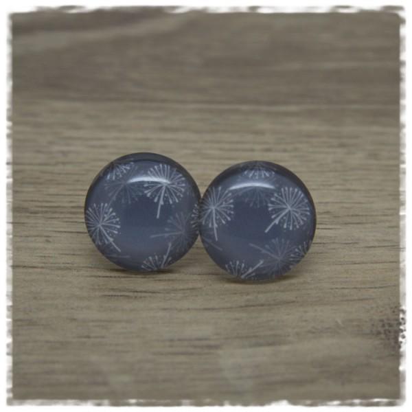 1 Paar Ohrstecker grau mit Pusteblumen