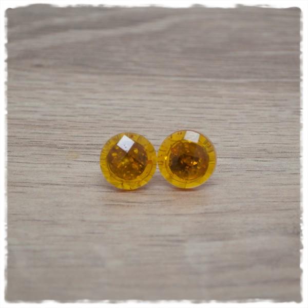 1 Paar Ohrstecker 14 mm einfarbig orange geschliffen