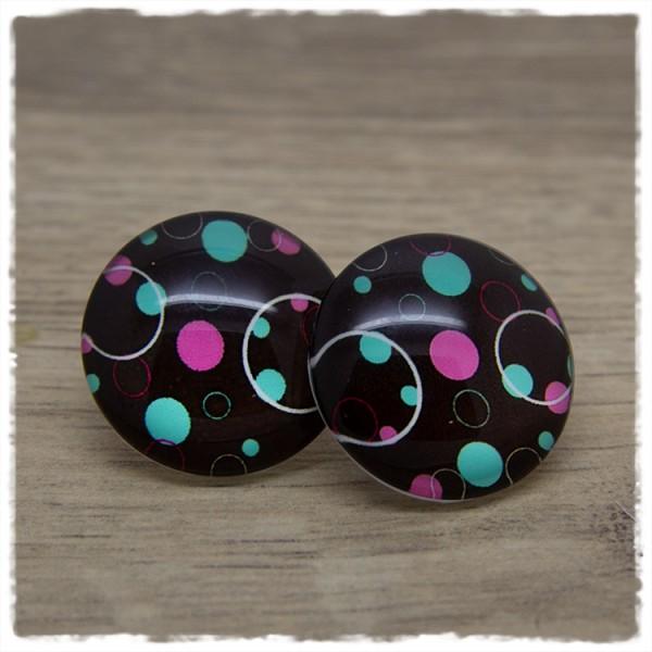 1 Paar Ohrstecker in 25 mm schwarz mit Loop und Punkten in pink und grün