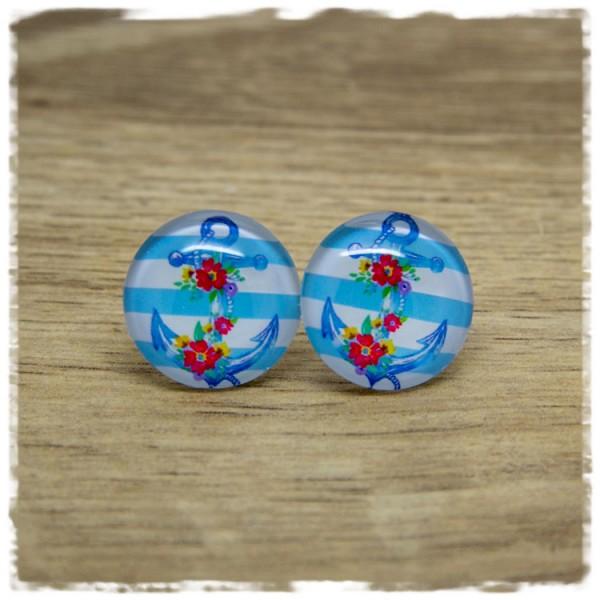 1 Paar Ohrstecker mit Anker und Blüten auf blauen und weißen Streifen