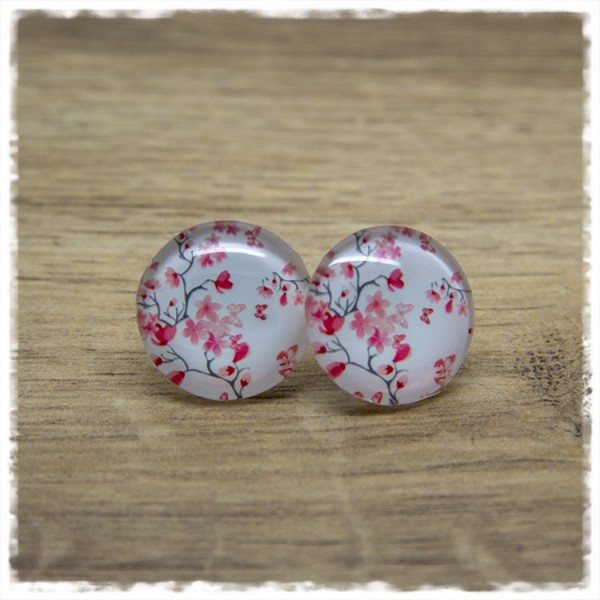 1 Paar Ohrstecker mit pinken Blüten und Ästen