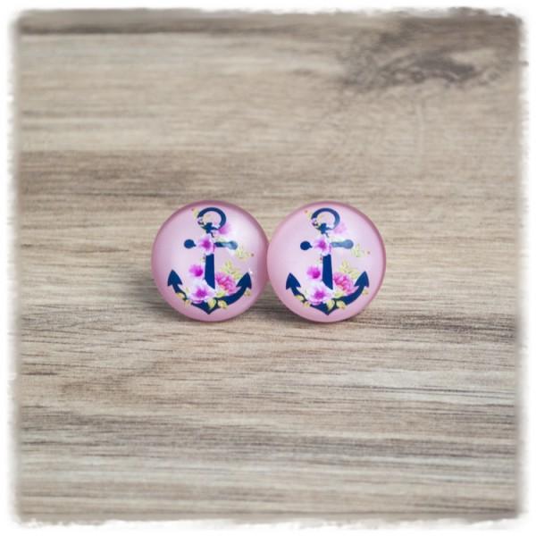 1 Paar Ohrstecker mit blauem Anker und Blüten auf rosa Hintergrund (wahlweise als Ohrclips)