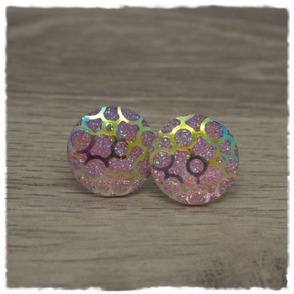1 Paar Glitzerohrstecker 20 mm in rosa mit Muster