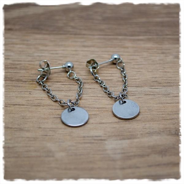 1 Paar Ohrhänger silbern mit Kette