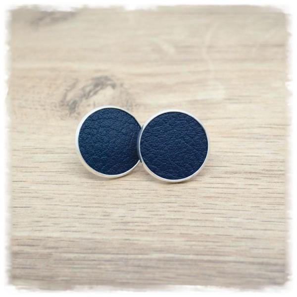 1 Paar Lederohrstecker dunkelblau mit silberner Fassung