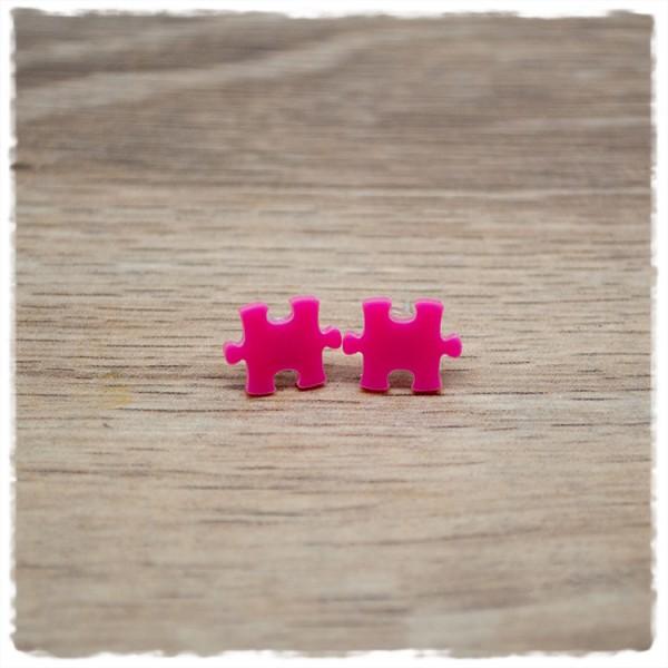 1 Paar Ohrstecker 10 mm Puzzleteil pink
