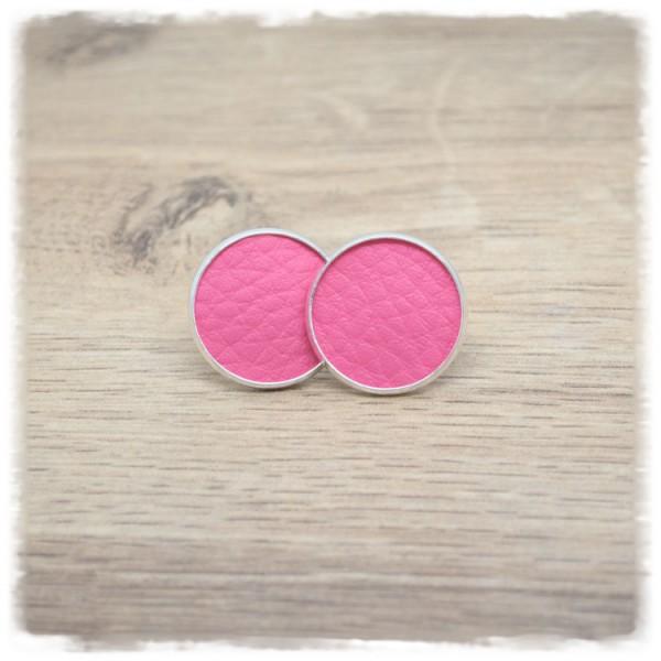 1 Paar Lederohrstecker rosa mit silberner Fassung