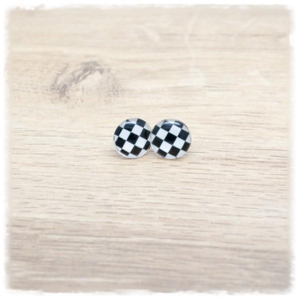 1 Paar Ohrstecker in 12 mm mit schwarz weißem Muster