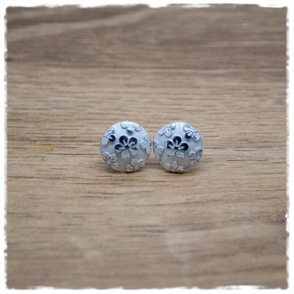 1 Paar Ohrstecker in 12 mm mit silbernen Blüten