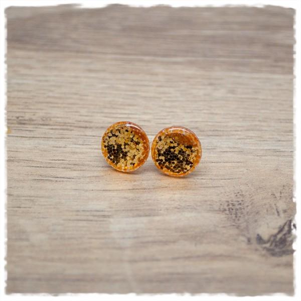 1 Paar Ohrstecker in 12 mm Glitter gelb