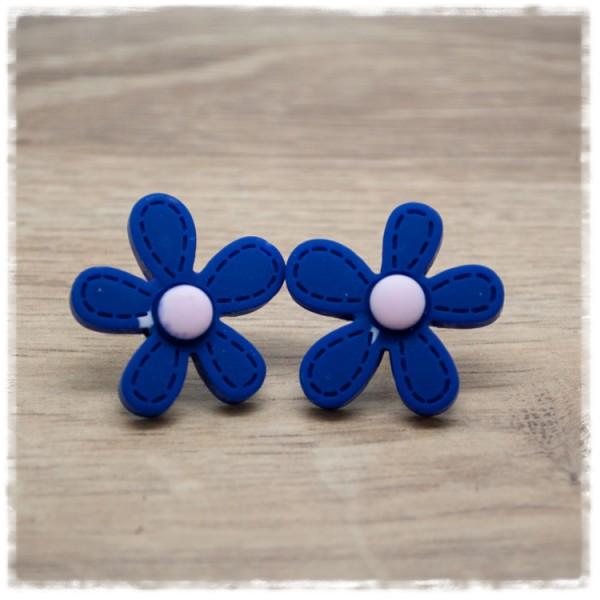 1 Paar Ohrstecker in 25 mm blaue Blüte