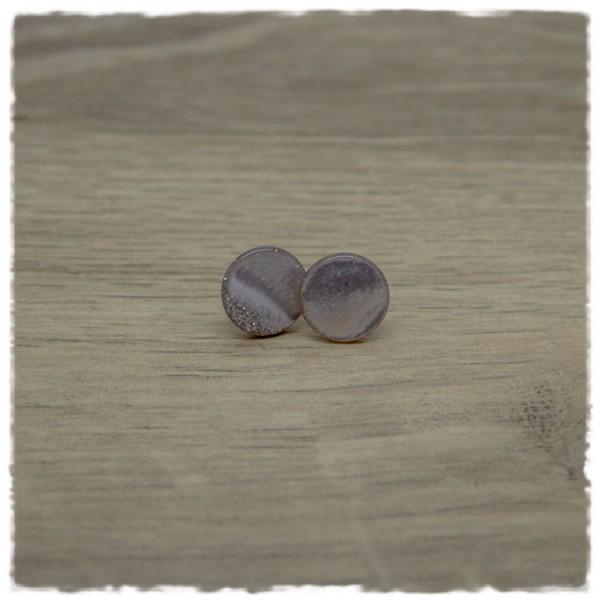 1 Paar Ohrstecker in 12 mm grau mit Glitter