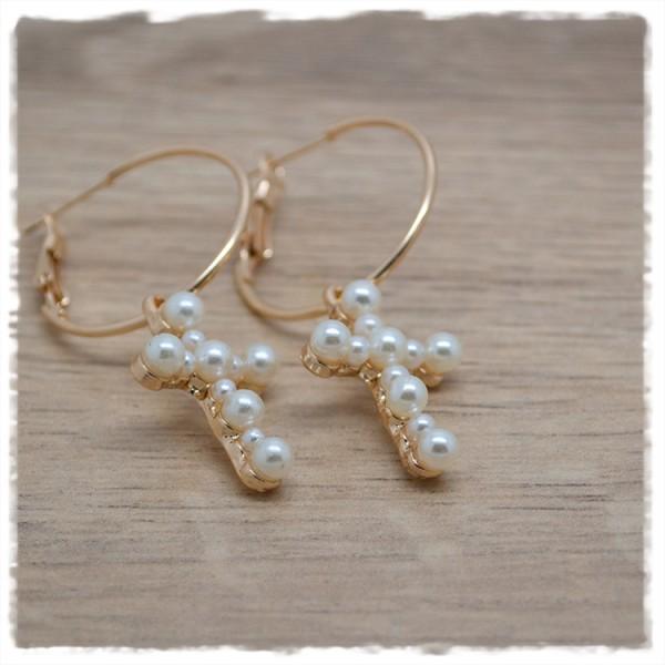 1 Paar Ohrhänger in 25mm ose mit Herz aus Perlen