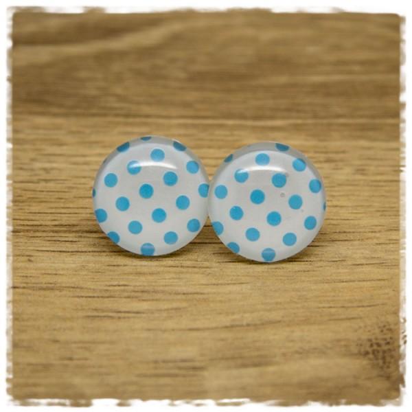 1 Paar Ohrstecker weiß mit hellblauen Punkten