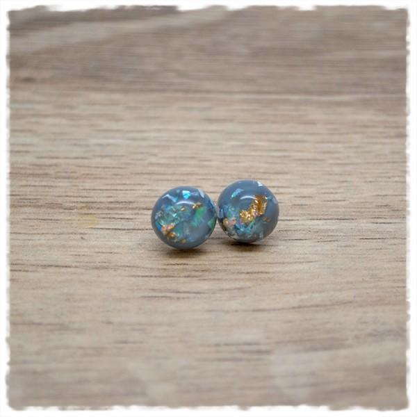 1 Paar Ohrstecker in 10 mm mit grau mit goldenem Glitter