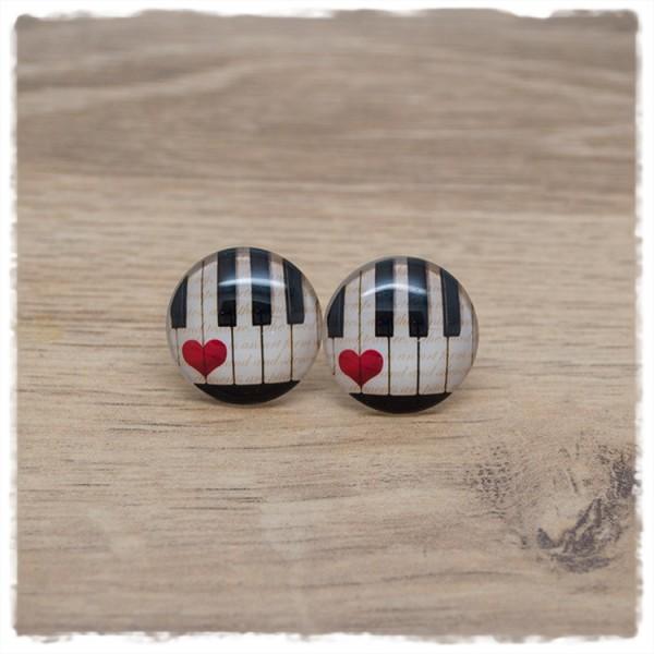1 Paar Ohrstecker in 20 mm mit Klaviertasten mit Herz