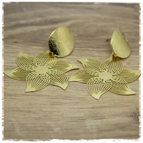 1 Paar Ohrhänger in 45 mm goldene Blüte