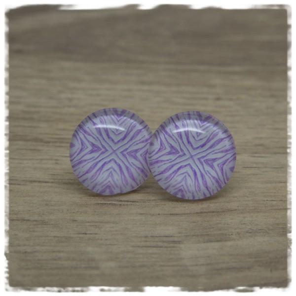 1 Paar Ohrstecker lila weiß gemustert