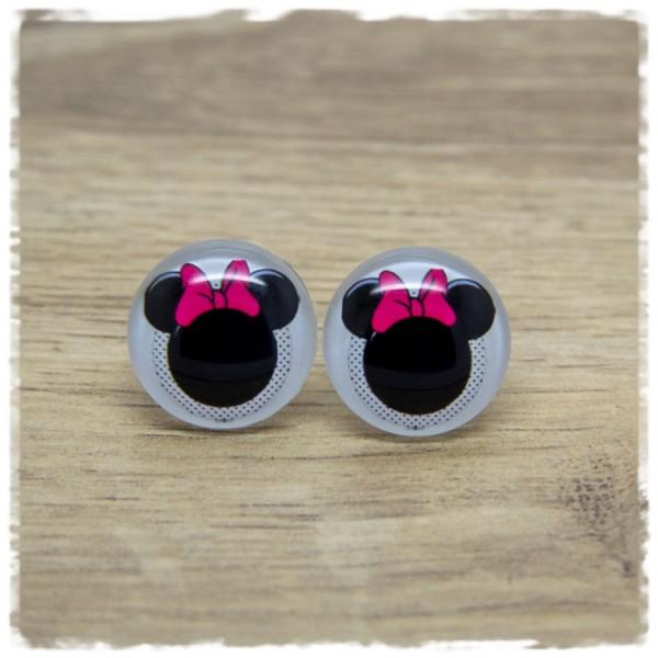 1 Paar Ohrstecker Maus mit pinker Schleife