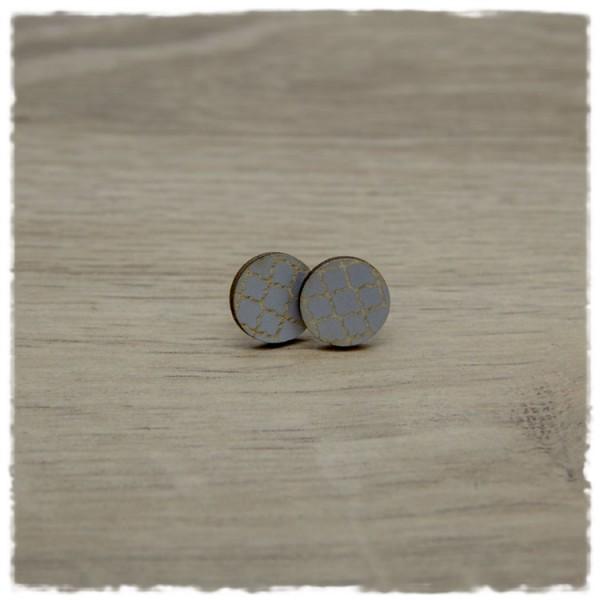 1 Paar Holzohrstecker in 12 mm grau mit Muster