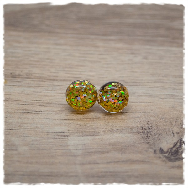 1 Paar Ohrstecker in 12 mm Glitter goldgelb