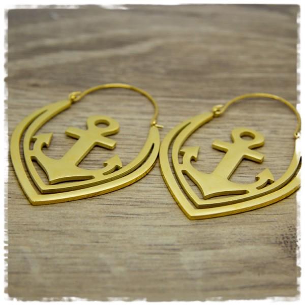 1 Paar Ohrhänger in 45 mm Anker golden