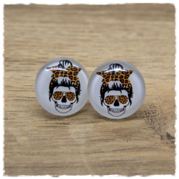 1 Paar Ohrstecker Kopf mit Leoschleife und Leobrille