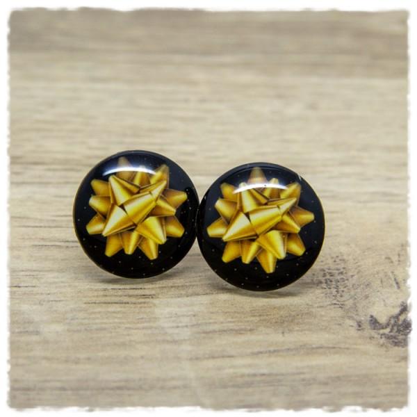 1 Paar Ohrstecker in 20 mm mit goldener Geschenkschleife