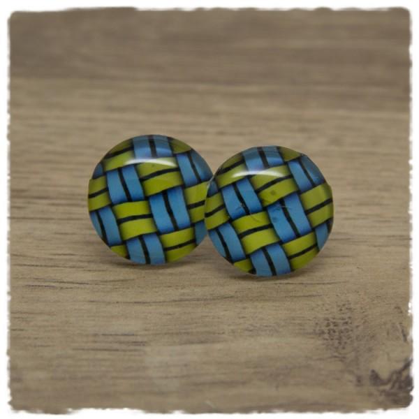 1 Paar Ohrstecker blau gelb gemustert