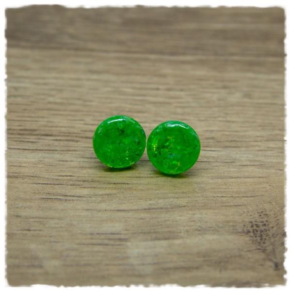 1 Paar Ohrstecker in 12 mm grün mit Glitterflakes